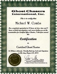 Michael Combs - Ghost Hunter Certificate