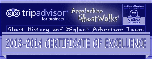 Appalachian GhostWalks Trip Advisor 2013 Award for Excellence